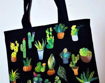 Painted Cacti and Succulents Tote Bag
