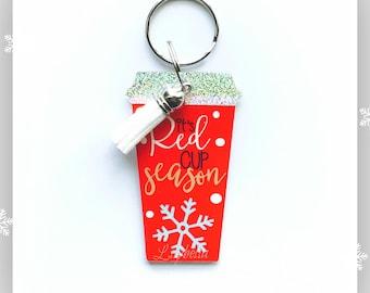 Coffee Cup Key Chains - Holiday Key Chain - Key Chain - Acrylic Key Chain -Christmas Key Chain - Teacher Gift - Holiday Ornament
