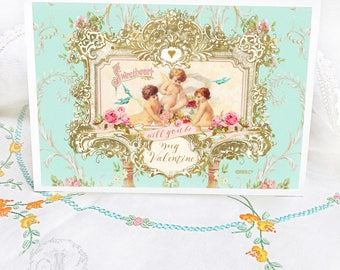 Valentines day card, romantic, cupids with pink roses, baroque vintage style love card