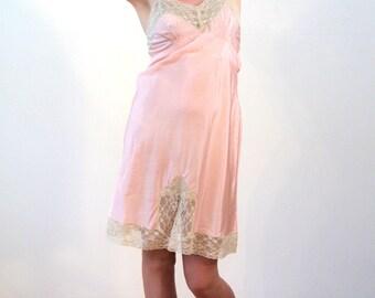 Florrie, 1940s Pink Slip M, Pink Lace Slip, 40s Slip, 1940s Lingerie, Fancy Slip, Pink Satin Slip, Pink Rayon Slip, Honeymoon Slip, 34 36