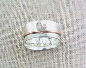 Personalized Ring · Personalized Heart Spinner Ring  · Handwriting Ring · Mixed Metal Ring · Cutout Heart Ring · Love Ring