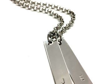 Personalized Mens Necklace. Guys Initial Necklace. Customized Couple Necklace. Stainless Steel Jewelry. Gift for Him and Her