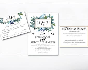 Editable and Printable Watercolor Wedding Invitation Template - Instant Download