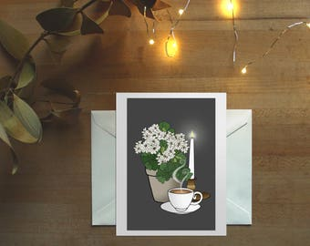 Hygge, art print cards, comfort cards, geraniums, zinnias, tea and flowers, coffee and flowers, coffee and tea, latte art, all occasions