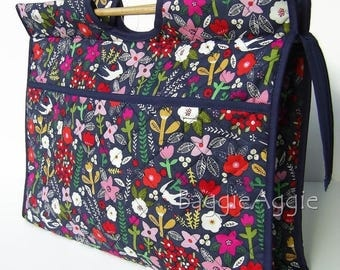 Large Knitting Bag, Knitting Project Bag, Sewing Bag, Zipped Crafts Bag, HOT FLORAL. Birthday Gift for Women. Mothers Day Gift.