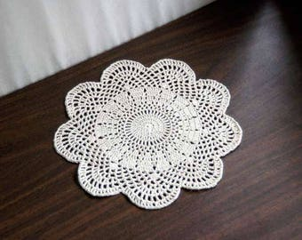 Art Deco Table Decor Crochet Doily, Ecru Scalloped Lace, 9 Inch Doily, Minimalist Design, Modern Fiber Art for Home or Office Space