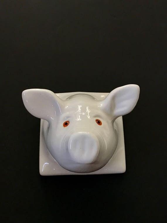 large white ceramic pig head wall mount / pig figurine sculpture / baby nursery decor
