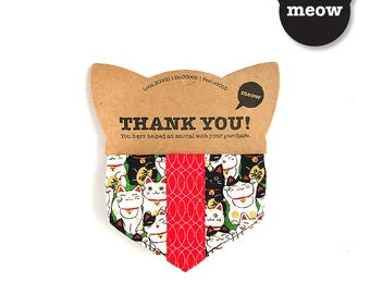 CNY GOOOD Cat Collar   Cool Scarf - Abundance of Luck   100% Cats & Red Cotton Fabric   Safety Breakaway Buckle