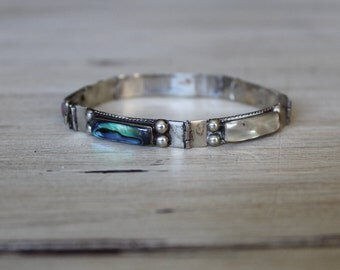 True Vintage 925 Alpaca Bracelet Mother Of Pearl Abalone Sterling Silver Bracelet