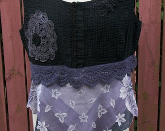 Festival Clothing-Upcycled Black Gypsy Tunic-Gray & Purple Crop Top with Vintage Hankie-Gypsy Altered Clothing-Summer Blouse-Size Large