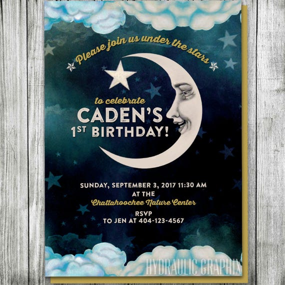 man in the moon invitation for first birthday vintage moon