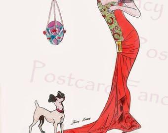 Sexy Art Deco Lady Teasing Her Dog with EASTER Egg, Instant Digital Download, Sager Illustration