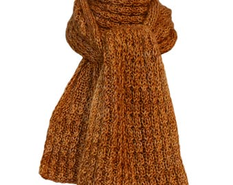 Hand Knit Scarf - Hand-Dyed Gold Cashmere Silk Cable Rib