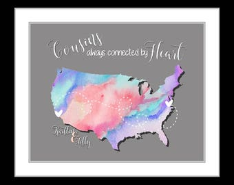 Cousin gift, christmas gifts for cousins, quotes, great family present, names hearts birthday gift cousin, personalized map, rabow art print