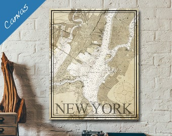 Vintage map, New York Nautical Chart, NY Map, Nautical decor, Canvas wall art, Seaside decor, Map art / New York Harbor Vintage Nautical Art
