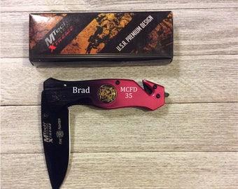 Personalized Knife, engraved pocket knife, rescue knife, Pocket Knife, Firefighter knife, Engraved Knife, Custom Knife, engraved knives