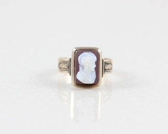10k Yellow Gold Cameo Ring Antique Victorian Ring Size 5 1/4