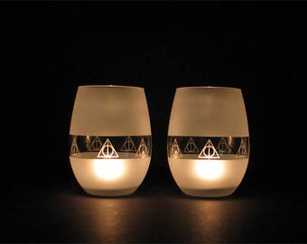 Harry Potter Always Deathly Hallows  tea candle holder or wine glass Set of two