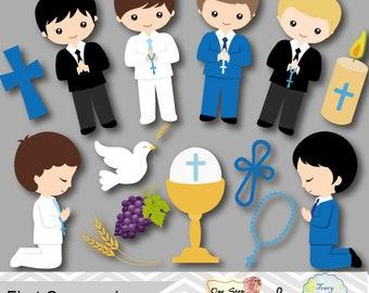 Digital First Communion Clip Art, Boy First Communion Clipart, First Communion Digital Clipart, Boy First Communion Clip Art, 00191