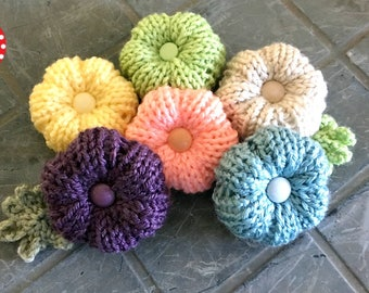 Loom Knitting PATTERNS for Flowers with Step by Step Video Tutorial | Rib Stitch Puffy Flower Pattern by Loomahat
