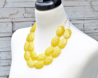 Chunky Necklaces - Bridesmaids Jewelry - Yellow Statement Necklace - Multi Layered Beaded Necklace - Statement Jewelry - Large Stone Jewelry