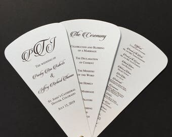 Monogram Wedding Program Fan