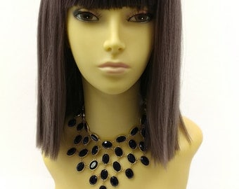 11 inch Purple Gray with Dark Roots Straight Blunt Bob w/ Bangs Heat Resistant Synthetic Wig. [27-167-Sherry-TT/PGray]