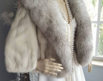 Luxury Vintage  Mink  Fur Stole  Cape Trimmed in Fox - Fur Shrug  Bridal Bolero - Shawl - Mink Coat - Jacket Norwegian Blue Fox Wrap Wedding
