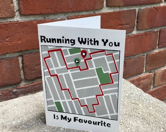Running With You is My Favourite Card- Running Buddy Card- Running Friendship Card- Cute Running Themed Card- Screen Printed Blank Card