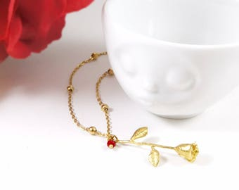 Gold Rose Necklace, Botanical Jewelry, Beauty and the Beast Jewelry, Enchanted Rose Necklace, Gold Flower, Belle Jewelry, NotAliceBoutique