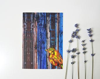 Blue bird bird painting sparrow modern blue design expressionism art blue postcard seagull beautiful gift card original oil illustration