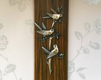 Kitsch/Retro Wall Plaque - Plastic Bluebirds, c1960's, Wood Effect Melamine, Gilt Detailing, Kitsch Styling