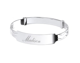 925 Sterling Silver Expandable Identity Baby Bangle - Personalised Name & Message