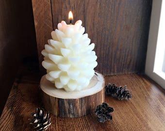 White Pine Cone Candle