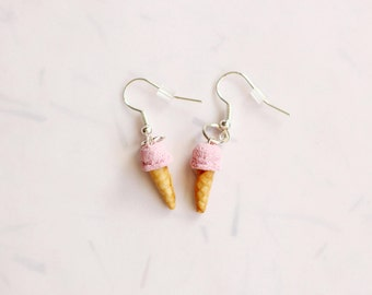 Miniature Strawberry Ice Cream Earrings, Miniature Food Jewelry