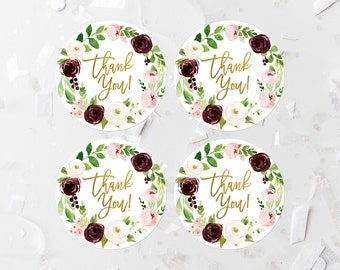 Burgundy Floral Thank You Favor Labels Printable Bridal Shower Favor Tags Baby Shower Favor Stickers Shower Decoration Pink Floral  309