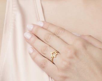 Sterling Silver Star Ring - Gold Star Ring - Dainty Star Ring - Star Jewelry - Star Stacking Ring - Minimalist Gold Ring - Delicate Ring
