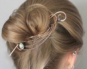 Abalone Hair Clip, Bun Holder, Copper Hair Brooch, Hair Pin, Wire Hair Barrette, Hair Stick, Hair Accessories, Gift for Women, Wire Art