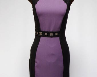 Elegant fitted black dress and purple T.38