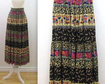 Carole Little Printed Maxi Skirt - Vintage 1980s Boho Festival Peasant Skirt in