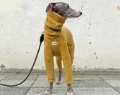 Italian Greyhound Clothing, Fleece Jammies,Jumpsuit,Romper,Onesie [Mustard]