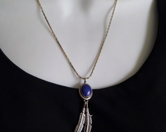Vintage NATIVE American Indian Jewelry, Navajo Sterling Necklace, LAPIS Lazuli Gemstone, Feather Leaf Charms 925 Long Chain, Gift for Her