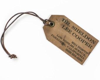 Personalised Vintage Leather Luggage Tag, name address phone tag, custom gift