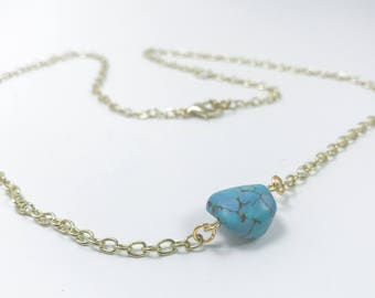 Turquoise Nugget Necklace. Turquoise Jewelry. Layering Jewelry. Gold Layered Necklace. Turquoise Jewelry. Boho Jewelry.
