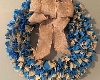 Teal Wreath, Burlap
