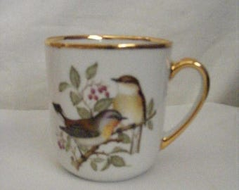 Store Wide Sale Two Porcelain Coffee Cups Birds and Walnuts