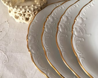 Vintage White  Porcelain Luncheon Plates Trimmed in Gold/Wawel of Poland