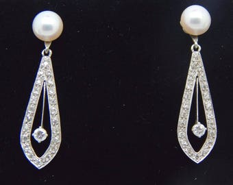 Antique 14K White Gold Pearl and .64 CT Diamond Drop Dangle Earrings