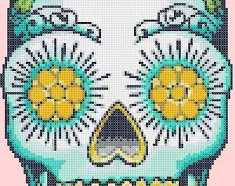 On SALE Sugar Skull - pop art - 99 x 157 stitches - Cross Stitch Pattern Pdf - INSTANT Download - B638