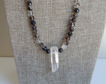 Long quartz necklace with large crystal quartz spike, boho necklace, black and white, clear quartz spike, chunky crystal necklace, healing